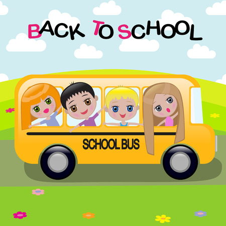 A cartoon schoolbus Vector