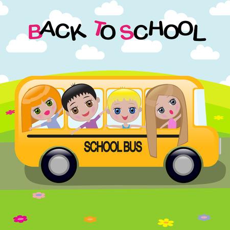 A cartoon schoolbus Vector