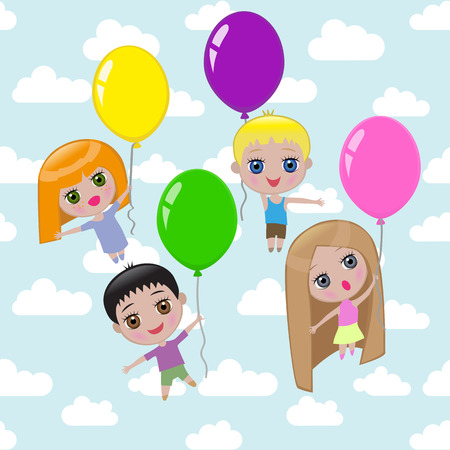 child's: Four pretty children are flying on balloons