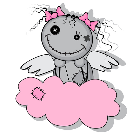 Monster girl with wings on a cloud isolated on white background Vector