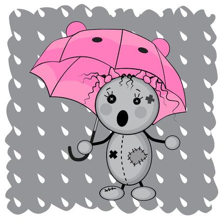 Monster girl under an umbrella Vector
