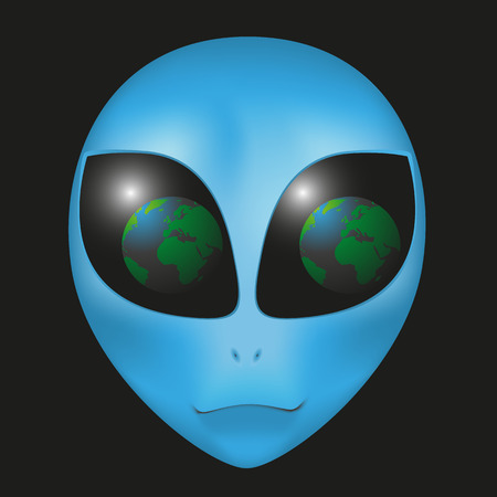 vomit: Alien face with the reflection in the eyes of the Earth Illustration