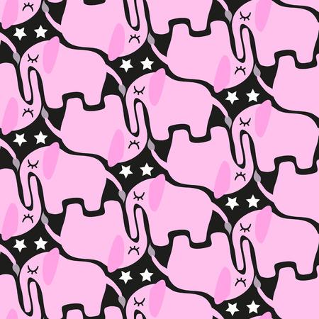 seamless pattern pink elephants on a black background Vector