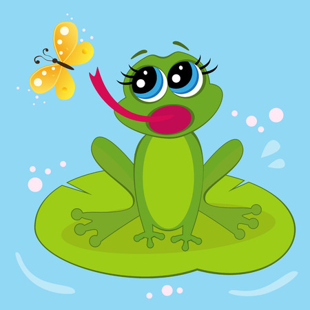 leapfrog: frog sitting on a leaf and eating butterfly Illustration