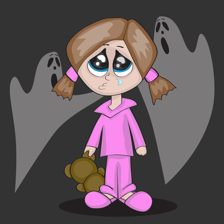 a little cartoon girl is crying r in darkness