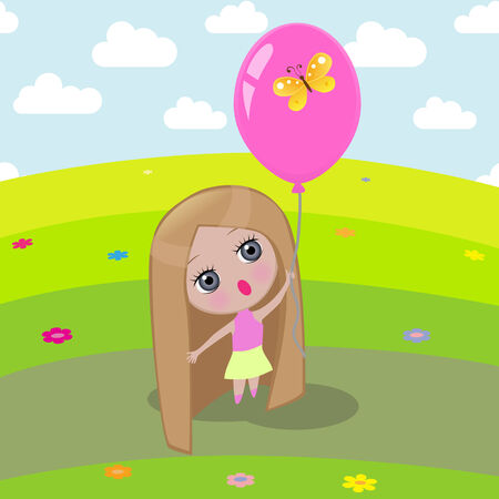 balloon girl: Girl holding a balloon, on which sits a butterfly