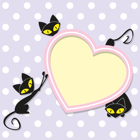 Greeting card with cats and heart Vector