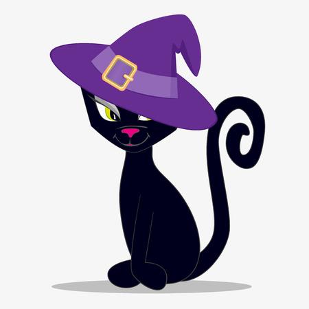 black cat silhouette: Black cat on a white background Illustration