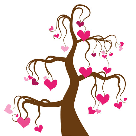 bonsai tree: bonsai tree with hearts on a white background Illustration