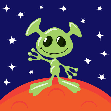 alien planet: Green alien on Mars is waving