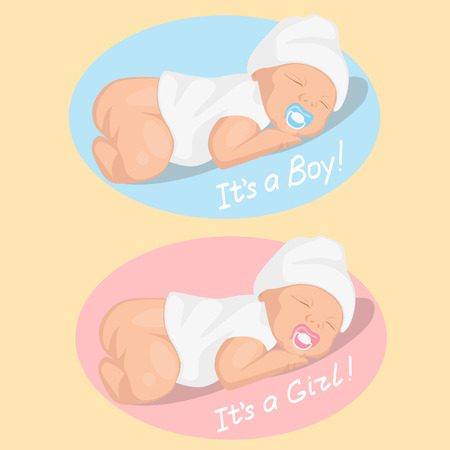 newborn boy and girl Vector