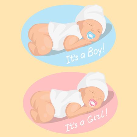 newborn boy and girl Vector