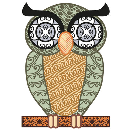 patterned colored owl isolated on white background Vector