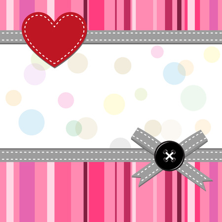 pink greeting card with button Vector