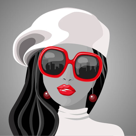 red black and white portrait of women with glasses Vector