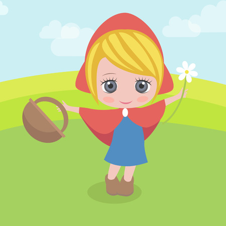 Red Riding Hood with a basket Vector