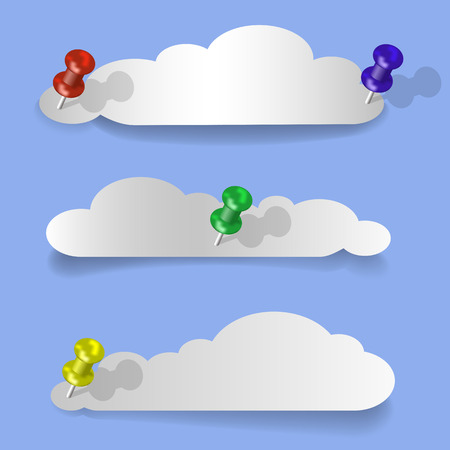 overlapping: Set of cloud-shaped paper banners Illustration