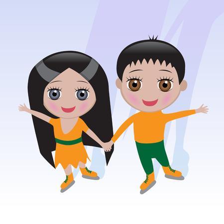 skating rink: Smiling boy and girl on the skating rink
