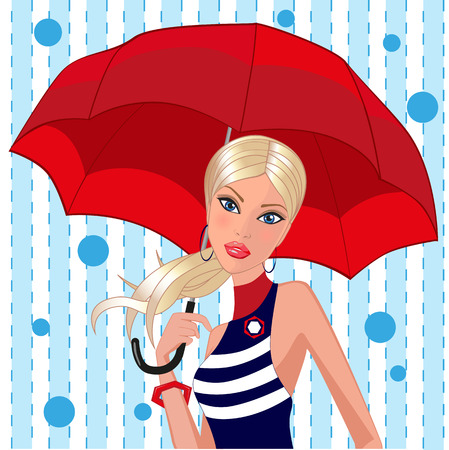 Beautiful girl is holding a red umbrella in her hand Vector