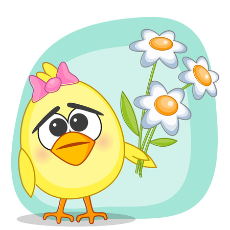 hatchling: Cute chicken with flowers on a blue background Illustration