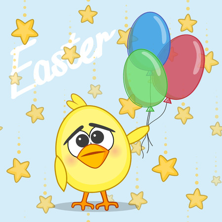 Cute chicken with balloons on a stars background Vector