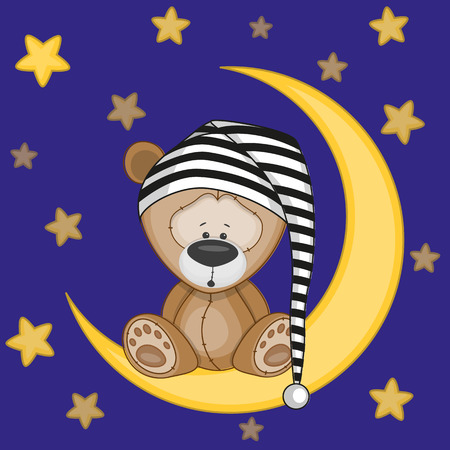 Teddy bear sitting on the moon Illustration