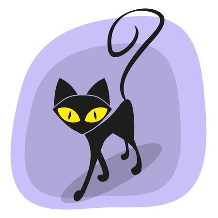 cartoons outline: Black cat for your design Illustration