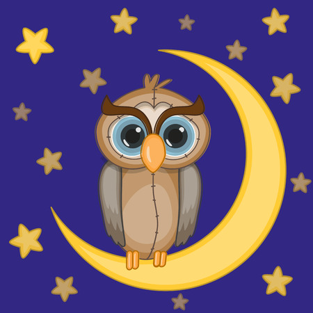 Cute owl on the moon Vector