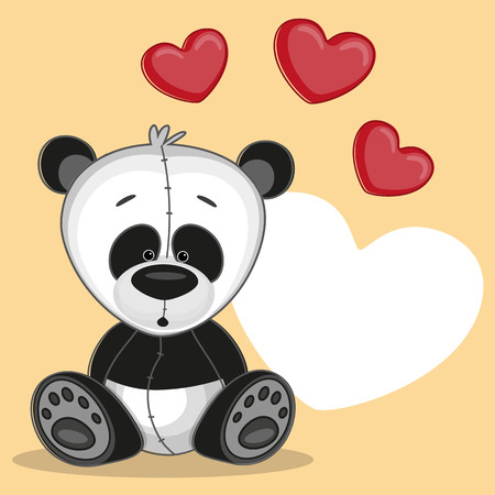 Cute panda with hearts on a yellow background Vector