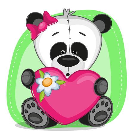 Cute panda girl with heart Vector