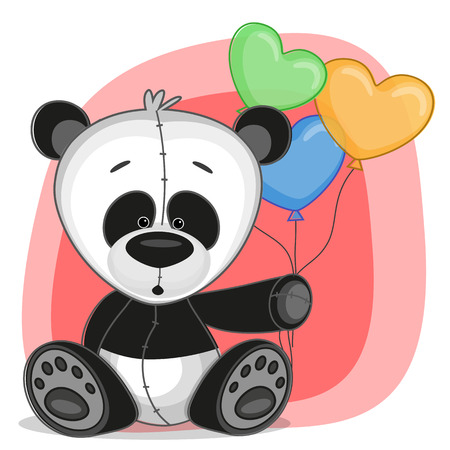 Greeting card Panda with baloons Vector