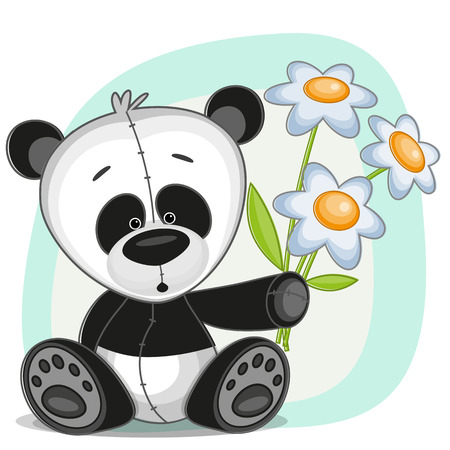 Greeting card Panda with flowers Vector