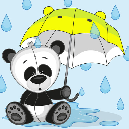 Greeting card Panda with umbrella  Vector