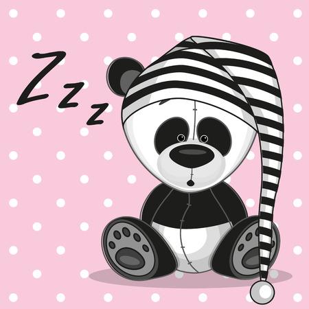 oso panda: Dormir panda con una gorra Vectores
