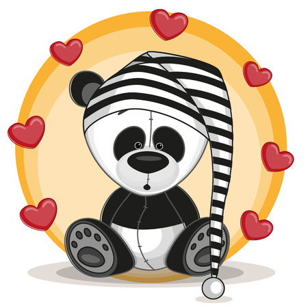 Cute panda in hat with hearts Vector