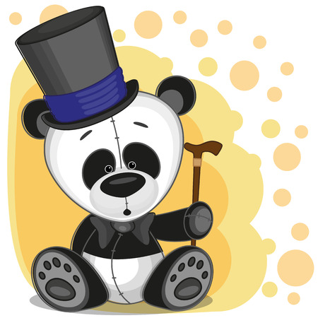 Greeting card Panda in a hat Vector