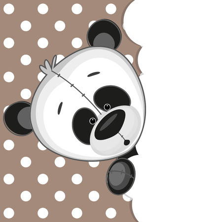 Panda peeking out from behind the clouds Vector