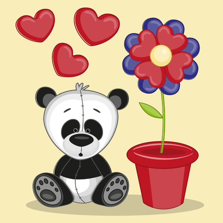 drawings image: Greeting card Panda with flower