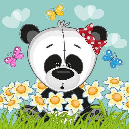Panda with flowers and butterflies Vector