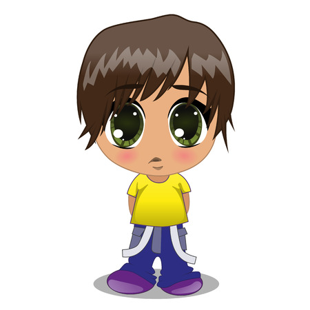 Cute anime boy isolated on a white background Vector