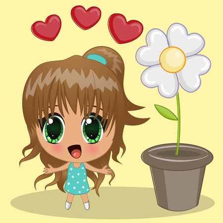 Cute anime girl with hearts and flower Vector