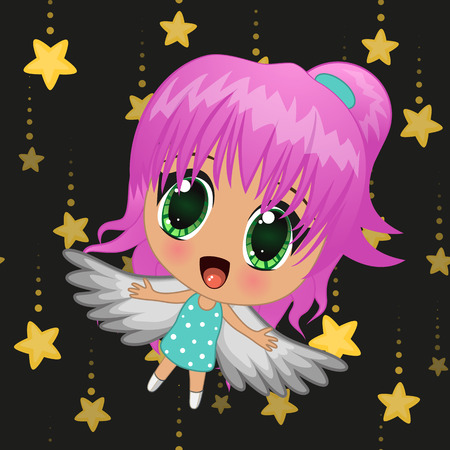 Cute anime girl with wings on a stars background Vector