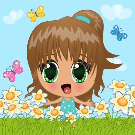 Cute anime girl with butterflies and flowers Vector