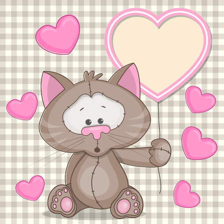 Valentine card with cat with hearts Vector