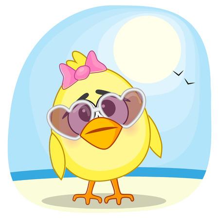 Cute chicken girl in sunglasses Vector