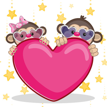 Valentine card with Lovers monkeys Vector