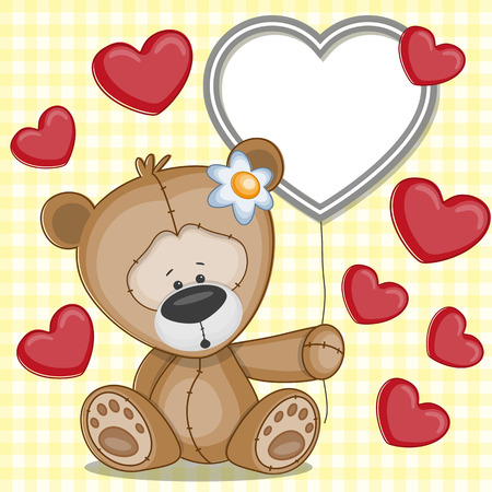 Valentine card with teddy bear with hearts Vector