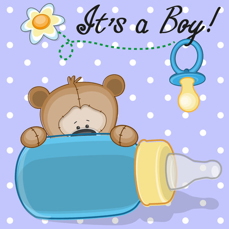 Teddy Bear with feeding bottle Ilustracja