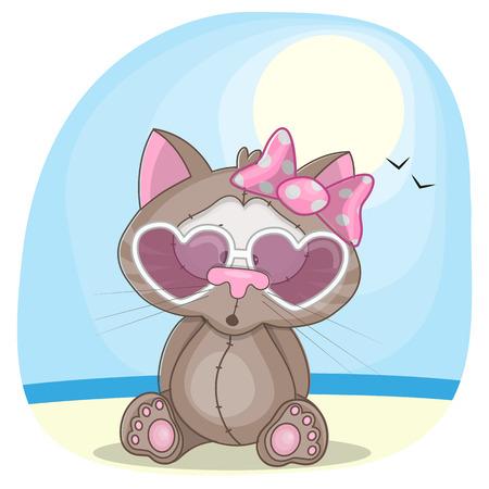 cat toy: Cute cat girl in sunglasses