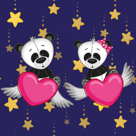 Valentine card with Lovers pandas Vector